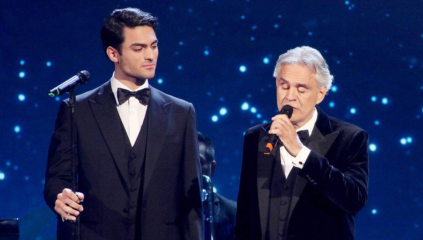 Matteo Bocelli (L) i Andrea Bocelli (fot. Getty Images)