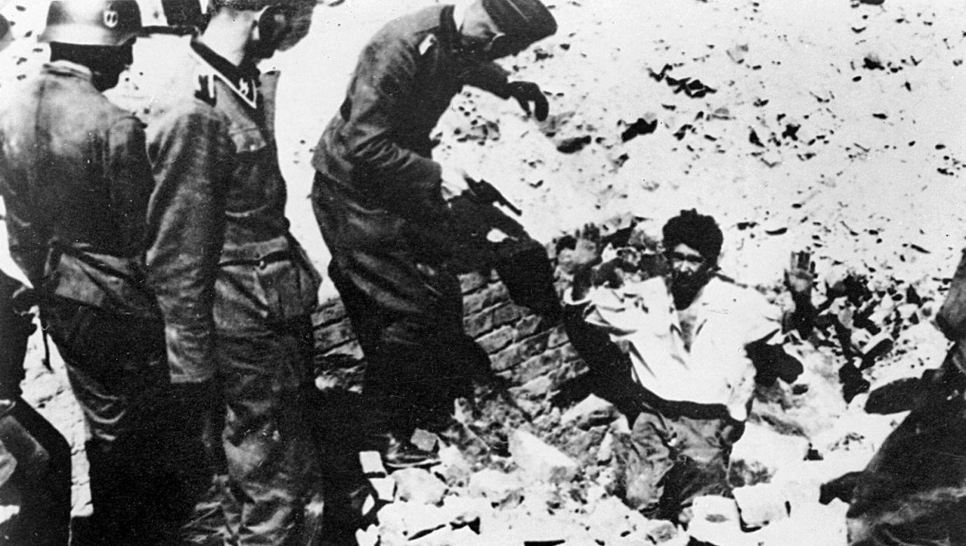 Kwiecień – maj 1943, powstanie w getcie warszawskim. Niemieccy żołnierze trzymają na muszce mężczyznę, powstańca wychodzącego z podniesionymi rękami z kryjówki ¬ – bunkra czy piwnicy. Fot. ŻIH / Forum