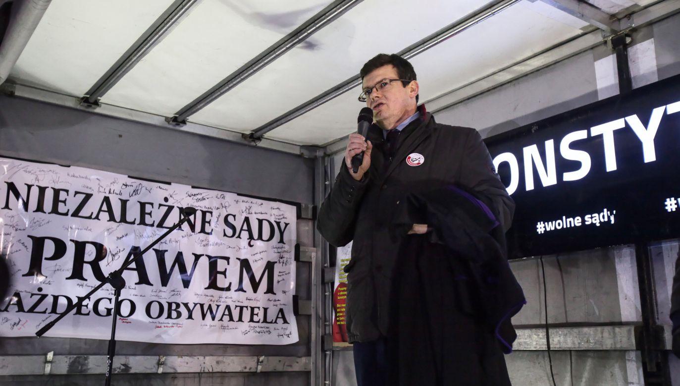 Sędzia Krystian Markiewicz był uczestnikiem ubiegłotygodniowych manifestacji w obronie sędziów (fot. PAP/Mateusz Marek)