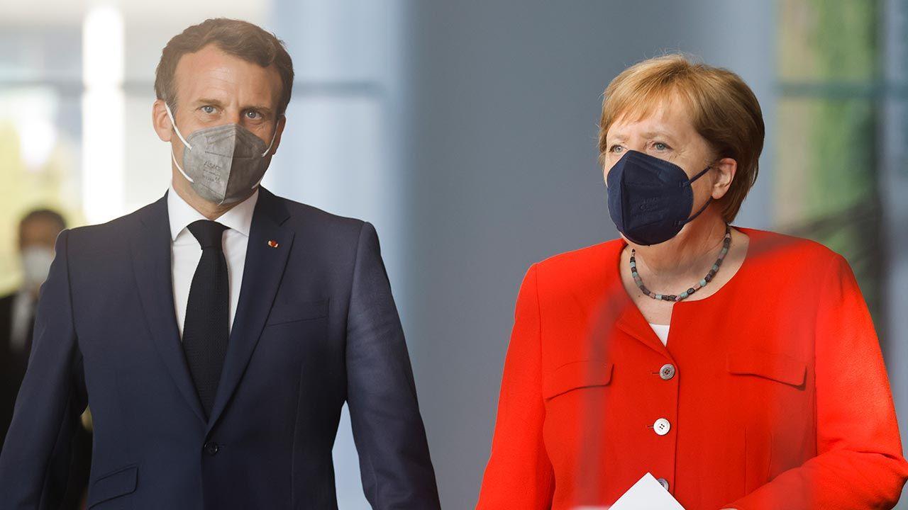Emmanuel Macron oraz Angela Merkel (fot. Axel Schmidt - Pool/Getty Images)