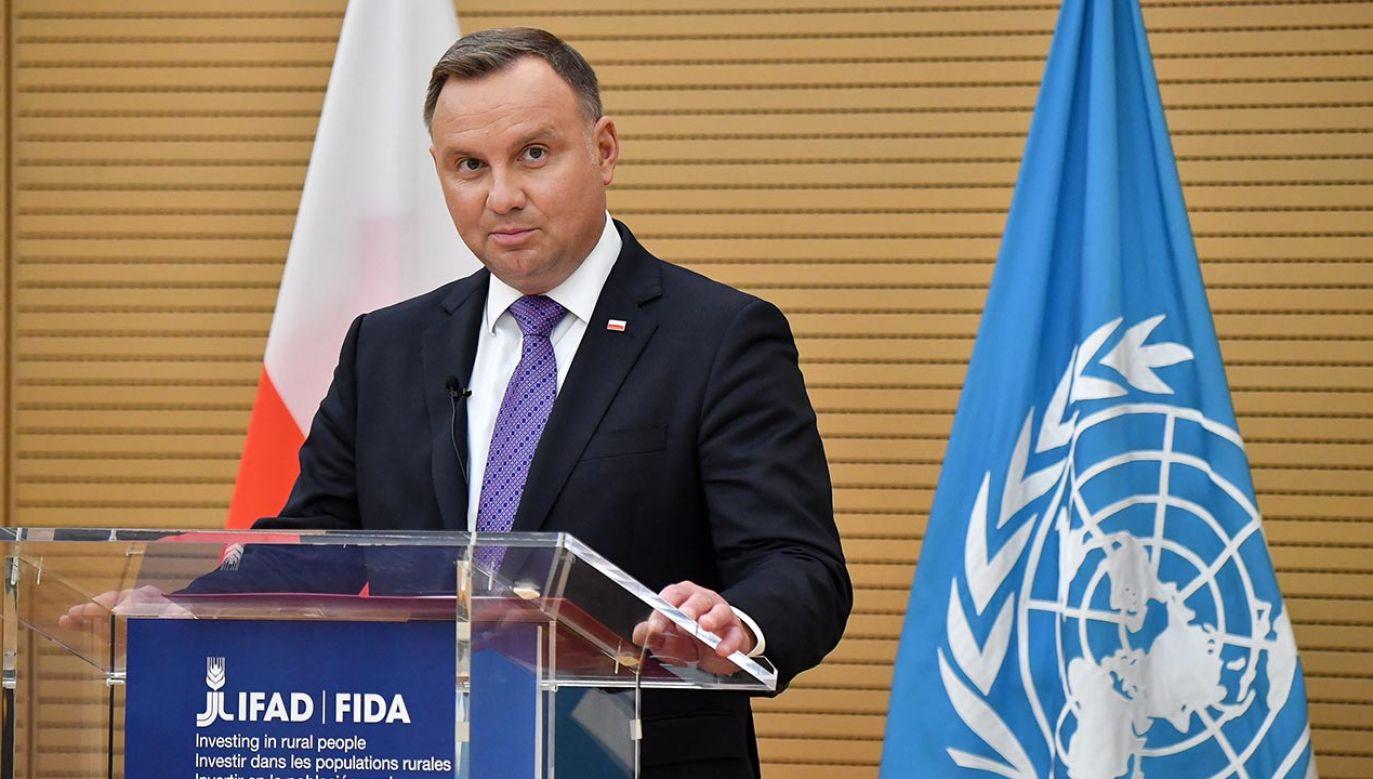 Andrzej Duda przemawiał w rzymskiej siedzibie Międzynarodowego Funduszu Rozwoju Rolnictwa (fot. PAP/EPA/ALESSANDRO DI MEO)