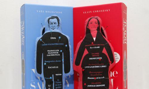 Lalki Voodoo przedstawiające byłego już prezydenta Francji Nicolasa Sarkozy'ego oraz jego kontrkandydatkę w wyborach prezydenckich w 2007, polityk Partii Socjalistycznej Segolene Royal. Sprzedawało je wydawnictwo K&B, w zestawie ze szpilkami i krótką, satyryczną biografią polityków. Sarkozy groził firmie pozwem. Paryż, październik 2008 r. Fot. REUTERS/Benoit Tessier