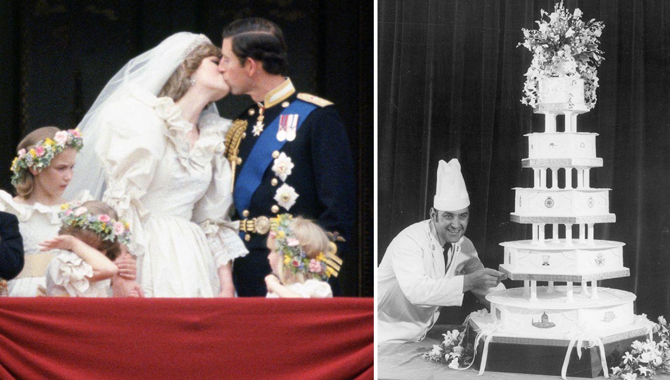 Ozdobiona królewskim herbem porcja wypieku przez cztery dekady przechowywana była w plastikowej folii i ozdobnej puszce (fot. Getty Images)