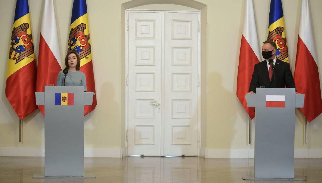 Prezydent Mołdawii Maia Sandu gości z oficjalną wizytą w Warszawie (fot. PAP/Marcin Obara)