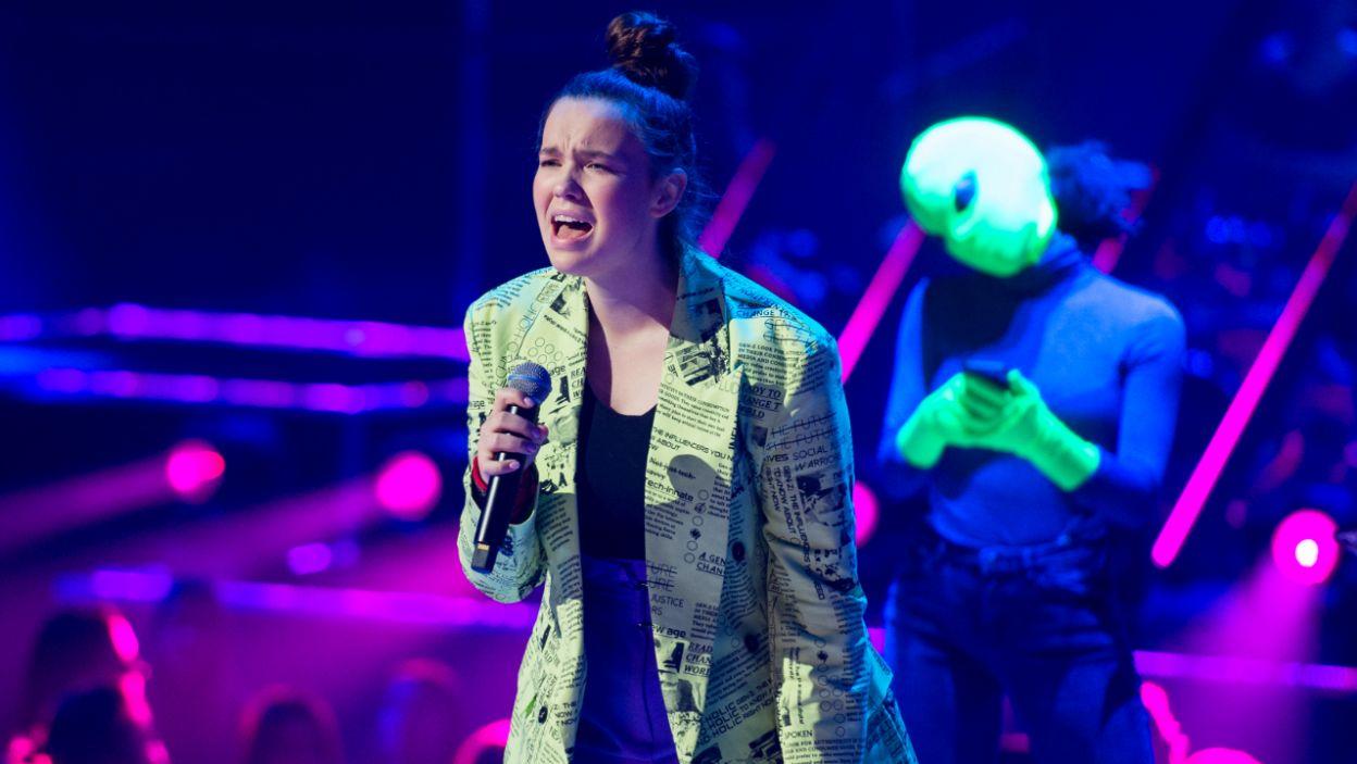 """Anastazja wykorzystała swój występ aby zwrócić uwagę na coraz powszechniejsze zjawisko """"hejtu"""" wśród nastolatków (fot. TVP)"""