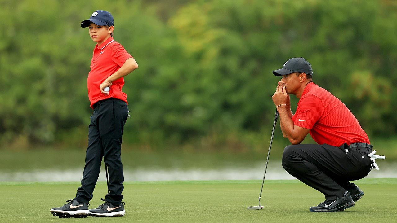 Charlie i Tiger Woods (fot. Mike Ehrmann/Getty Images)