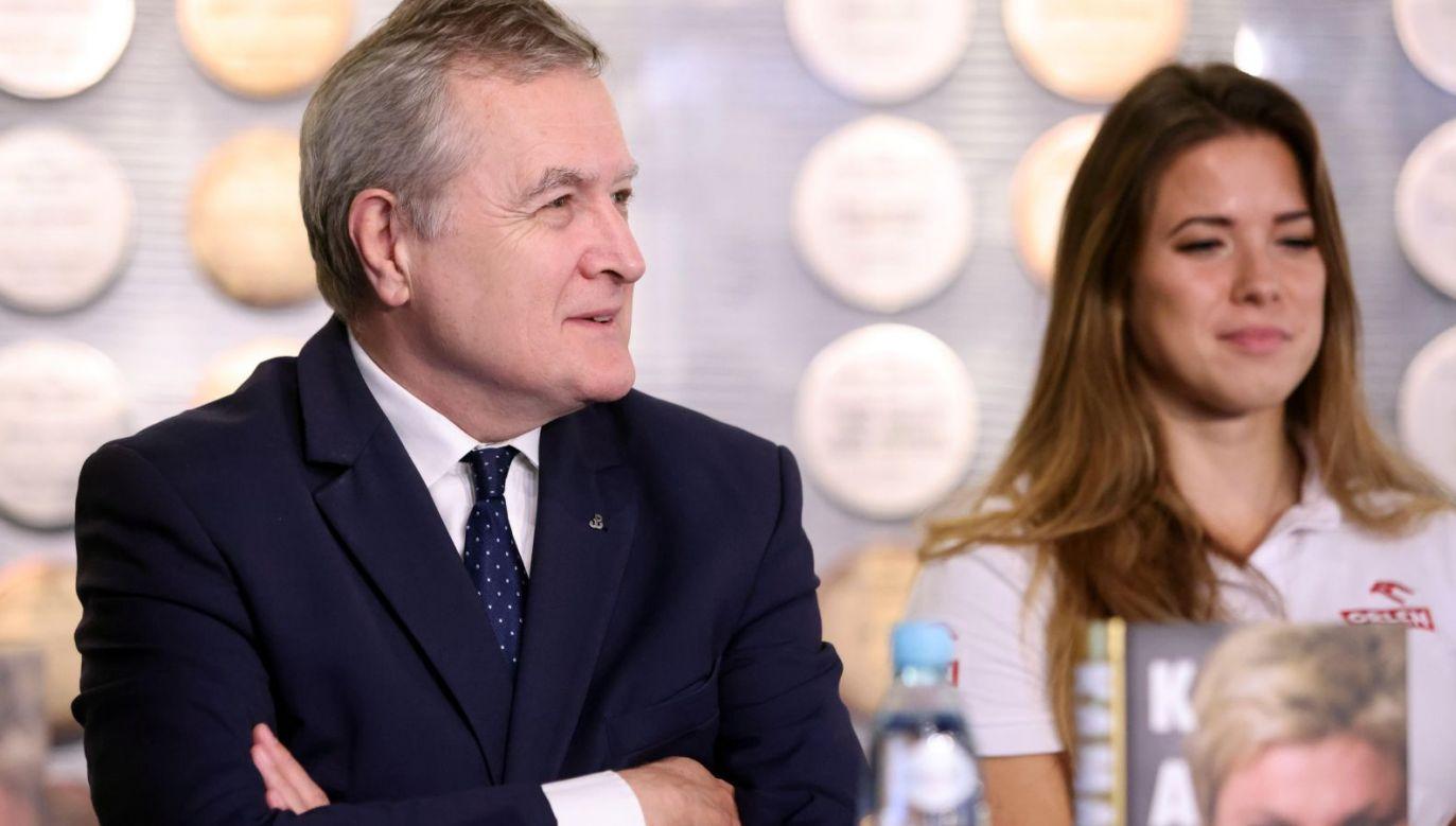 Minister Piotr Gliński i Maria Andrejczyk (fot. PAP/Leszek Szymański)