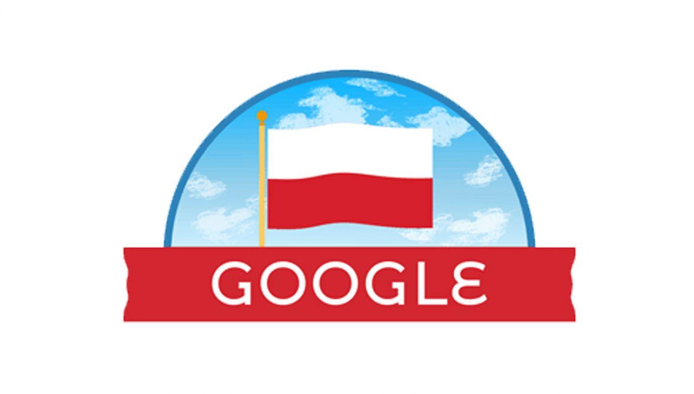 Logo wyszukiwarki Google ma biało-czerwony napis i wkomponowaną polską flagę (fot. źródło: Google)
