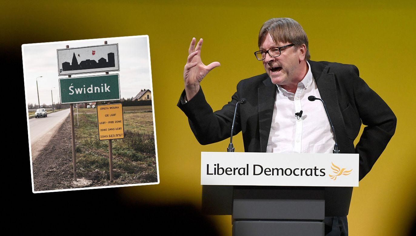 """Guy Verhofstadt wezwał Komisję Europejską do """"podjęcia natychmiastowych działań przeciwko polskim władzom"""" (fot. Finnbarr Webster/Getty Images; Facebook/Bart Staszewski - aktywista)"""