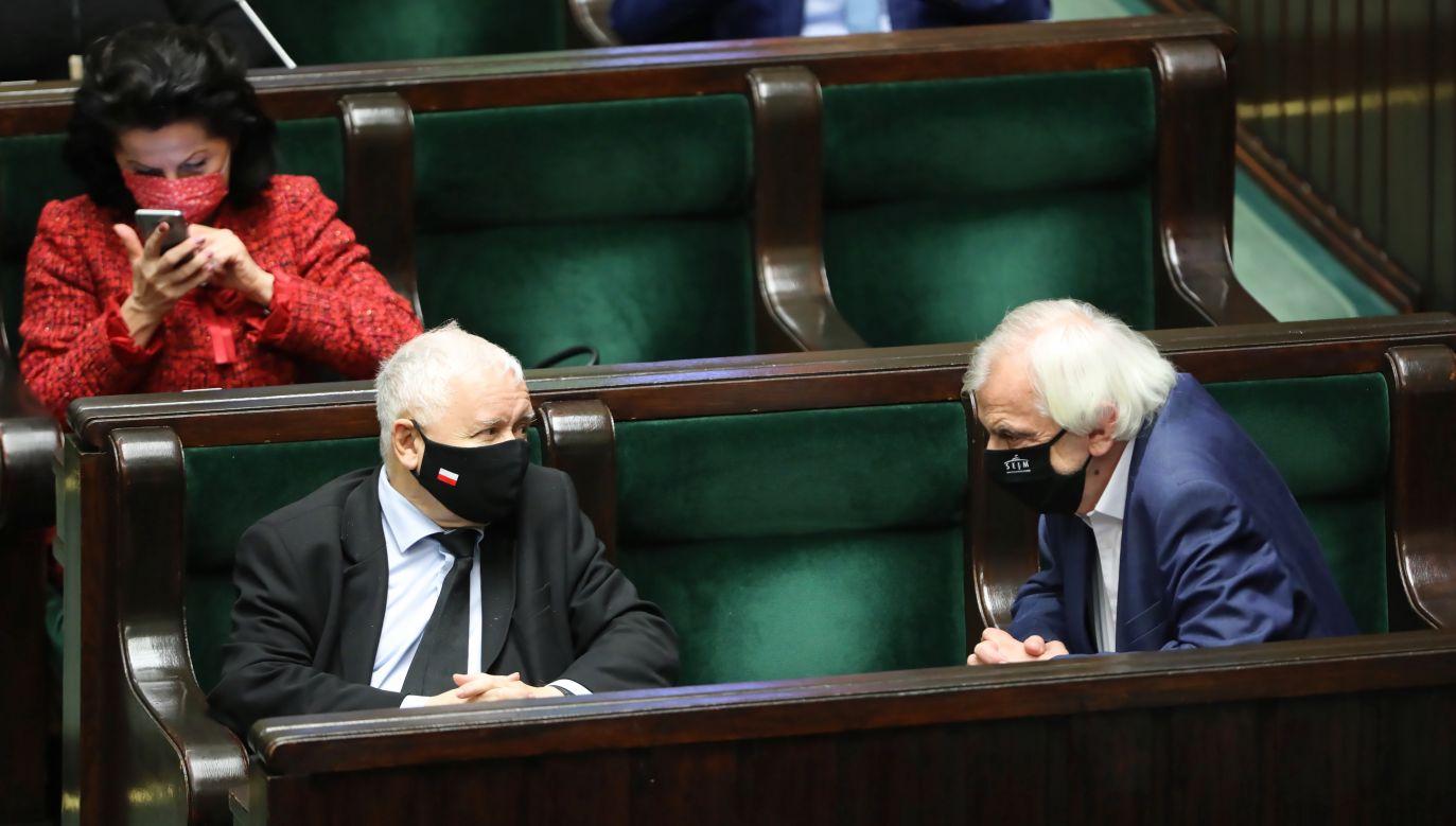 Prezes PiS Jarosław Kaczyński i wicemarszałek Sejmu Ryszard Terlecki (fot. arch. PAP/Wojciech Olkuśnik)