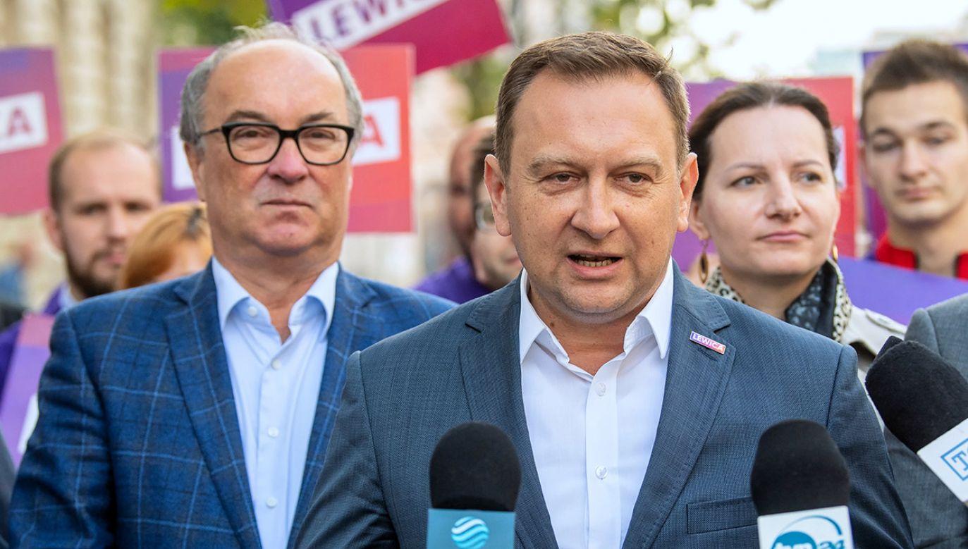 Włodzimierz Czarzasty i Tomasz Trela (fot. PAP/Grzegorz Michałowski)