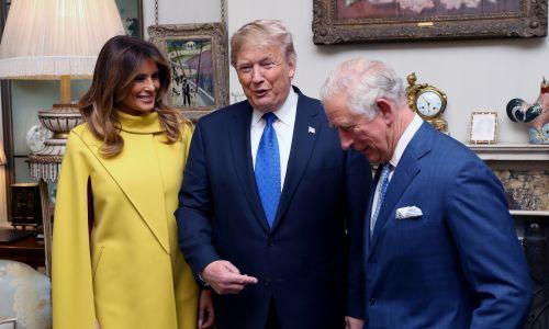 Coraz więcej zadań przejmuje następca tronu, książę Karol, za co dostanie w tym roku ok. 24 mln funtów. Na zdjęciu z Melanią i Donaldem Trumpami w czasie ostatniego szczytu NATO w Londynie. Fot. Chris Jackson/via REUTERS