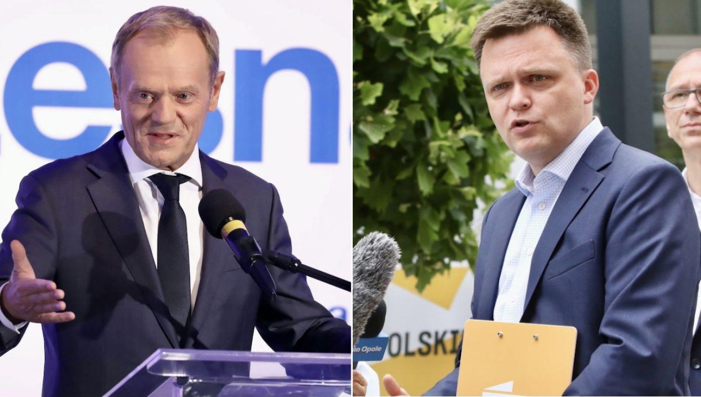 Donald Tusk i Szymon Hołownia (fot. PAP/Tomasz Gzell, PAP/Krzysztof Świderski)