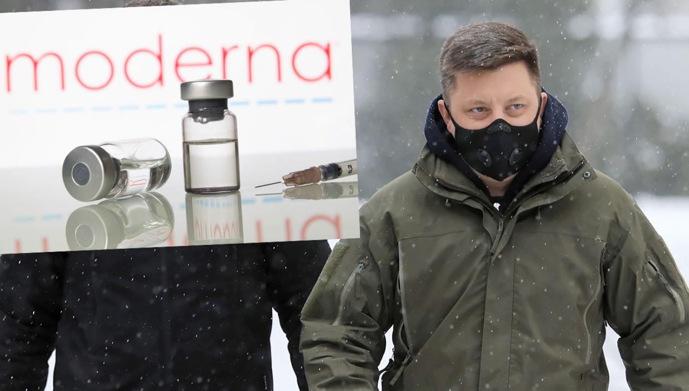Pełnomocnik rządu ds. szczepień Michał Dworczyk o szczepionkach Moderny (fot. PAP/Leszek Szymański; Shutterstock)