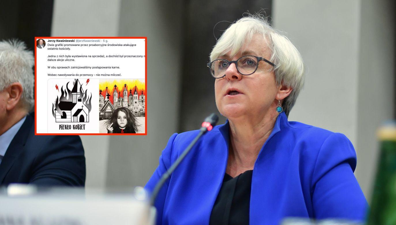 Strajk Kobiet. Joanna Kluzik-Rostkowska komentuje (fot. arch. PAP/Marcin Obara, twitter.com/jerzKwasniewski)