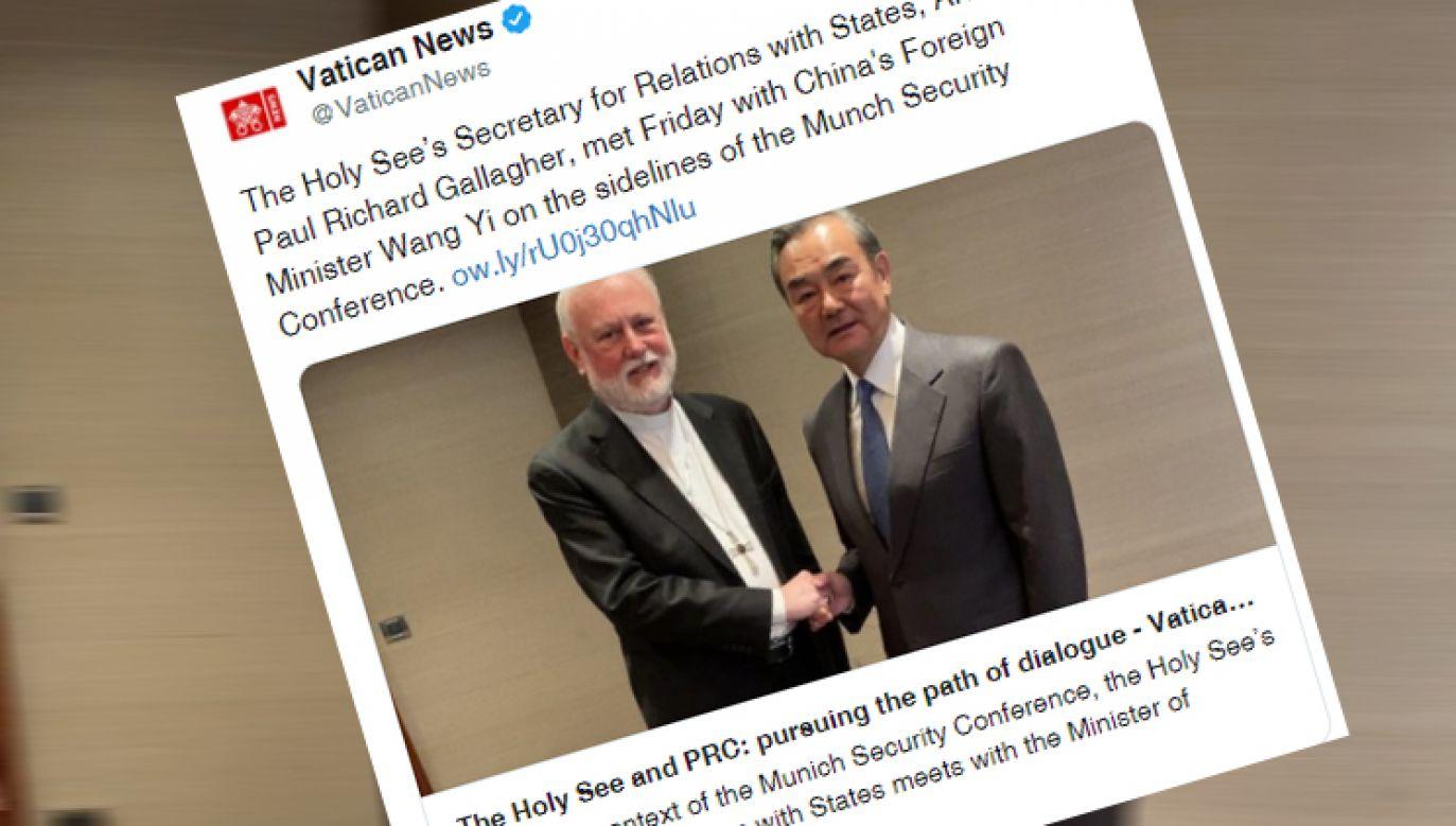 Szefowie dyplomacji Watykanu i Chin spotkali się w Monachium (fot. Twitter/@VaticanNews)