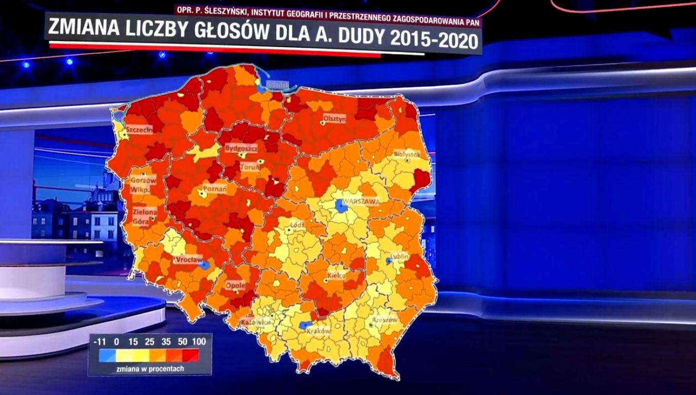 Prezydent Duda zwiększył znacznie poparcie na terenach gdzie do tej pory wybierano kandydatów opozycyjnych (fot. TVP Info)