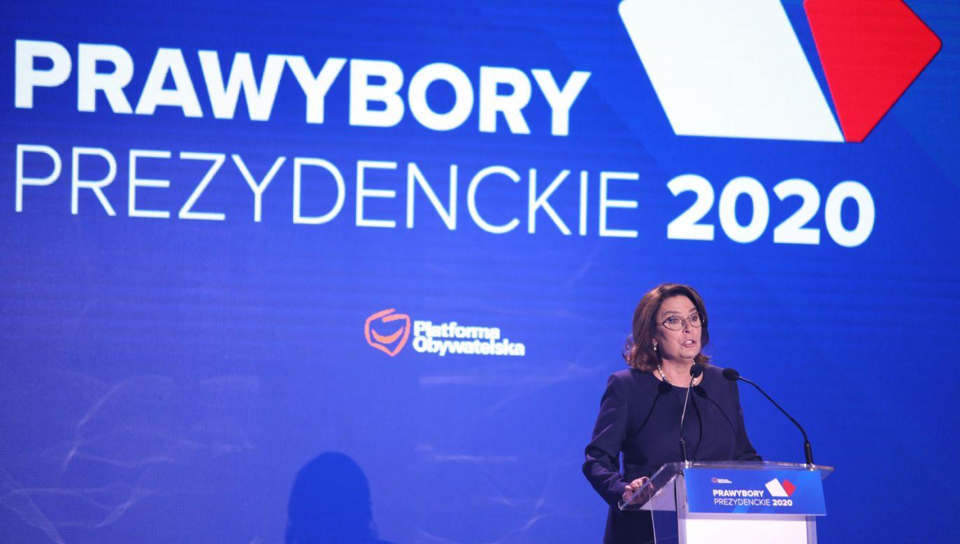 Wystąpienie Małgorzaty Kidawy-Błońskiej podczas konwencji krajowej PO (fot.  PAP/Leszek Szymański)