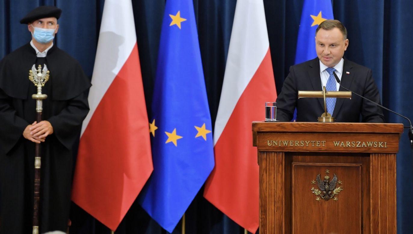 Andrzej Duda sprzeciwia siębraku tolerancji na polskich uczelniach (fot. PAP/Radek Pietruszka)