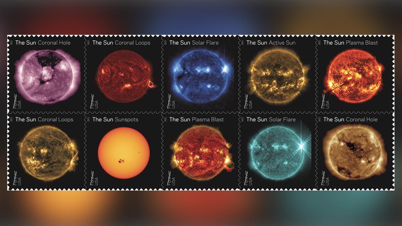 Znaczki pokazują naszą gwiazdę w różnych aspektach jej aktywności (fot. NASA/SDO/USPS)