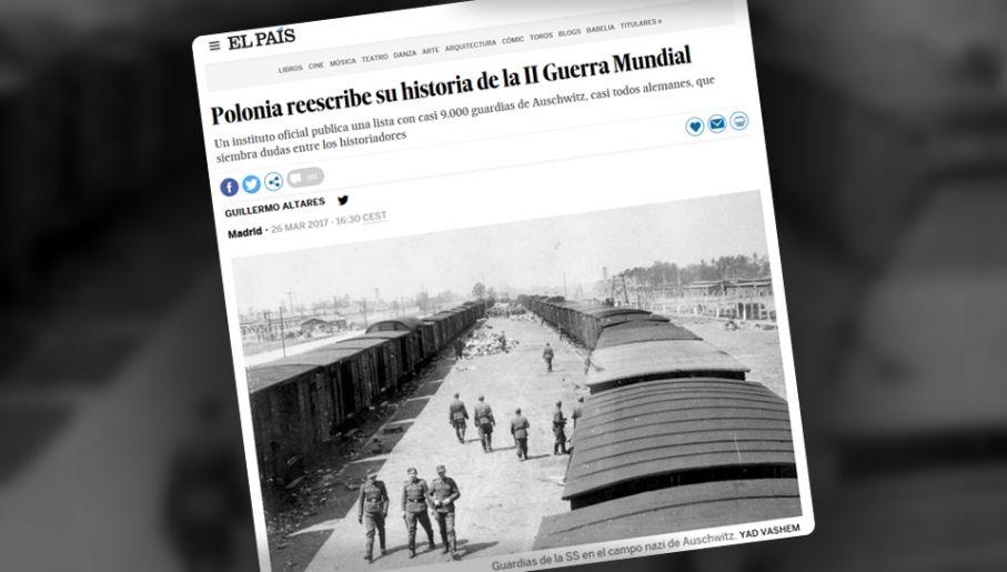"""Hiszpański dziennik 26 marca opublikował artykuł """"Polacy przepisują swoja historię w II Wojnie Światowej""""(fot. El Pais)"""
