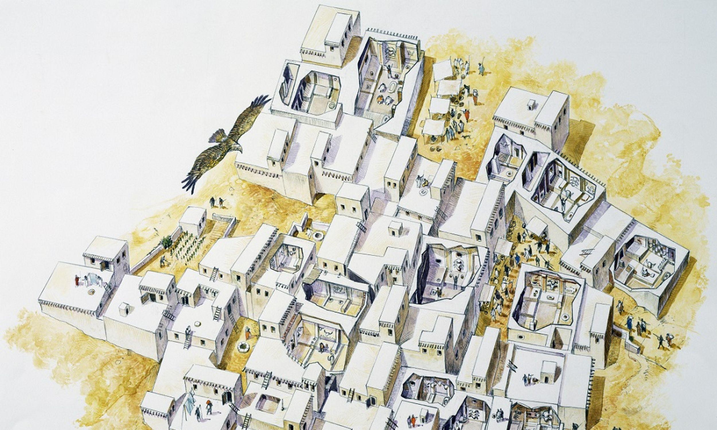 Plan osady Çatalhöyük, z jednopokojowymi domami, do których wchodzono przez dachy. Założono ją jakieś 7,1 tys. lat przed naszą erą, a przez stulecia nadbudowywano kolejne warstwy. Zasypywano bowiem co jakiś czas wnętrza domów (miały szereg platform, pod którymi grzebano zmarłych, a ich liczba przekraczała znacznie wielkość grupy mieszkańców) i zaczynano żyć niejako piętro wyżej, ale w tym samym miejscu. Osada nie posiadała żadnych murów obronnych. Fot. DeAgostini / Getty Images