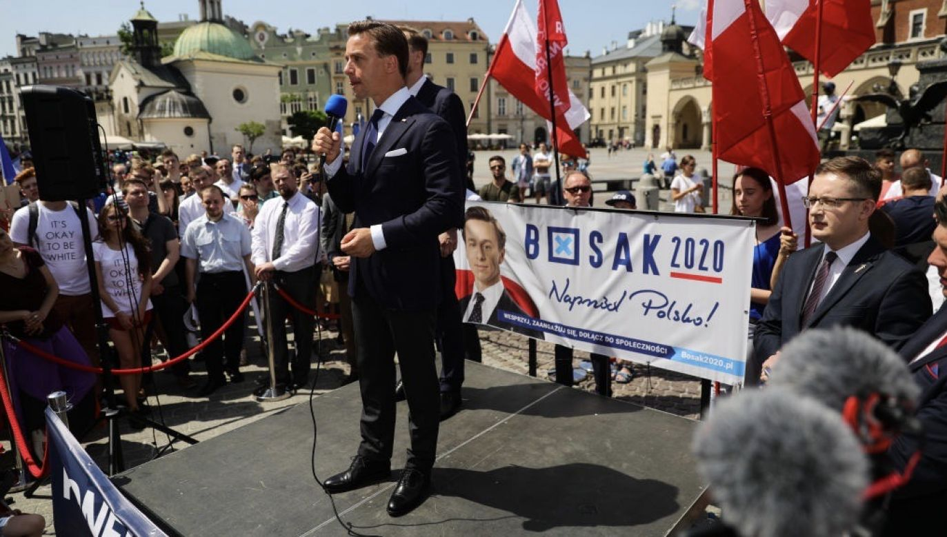 Działacze Stowarzyszenia SW zwrócili się do wyborców Krzysztofa Bosaka o dokonanie mądrego wyboru (fot. Filip Radwanski/SOPA Images/LightRocket via Getty Images)