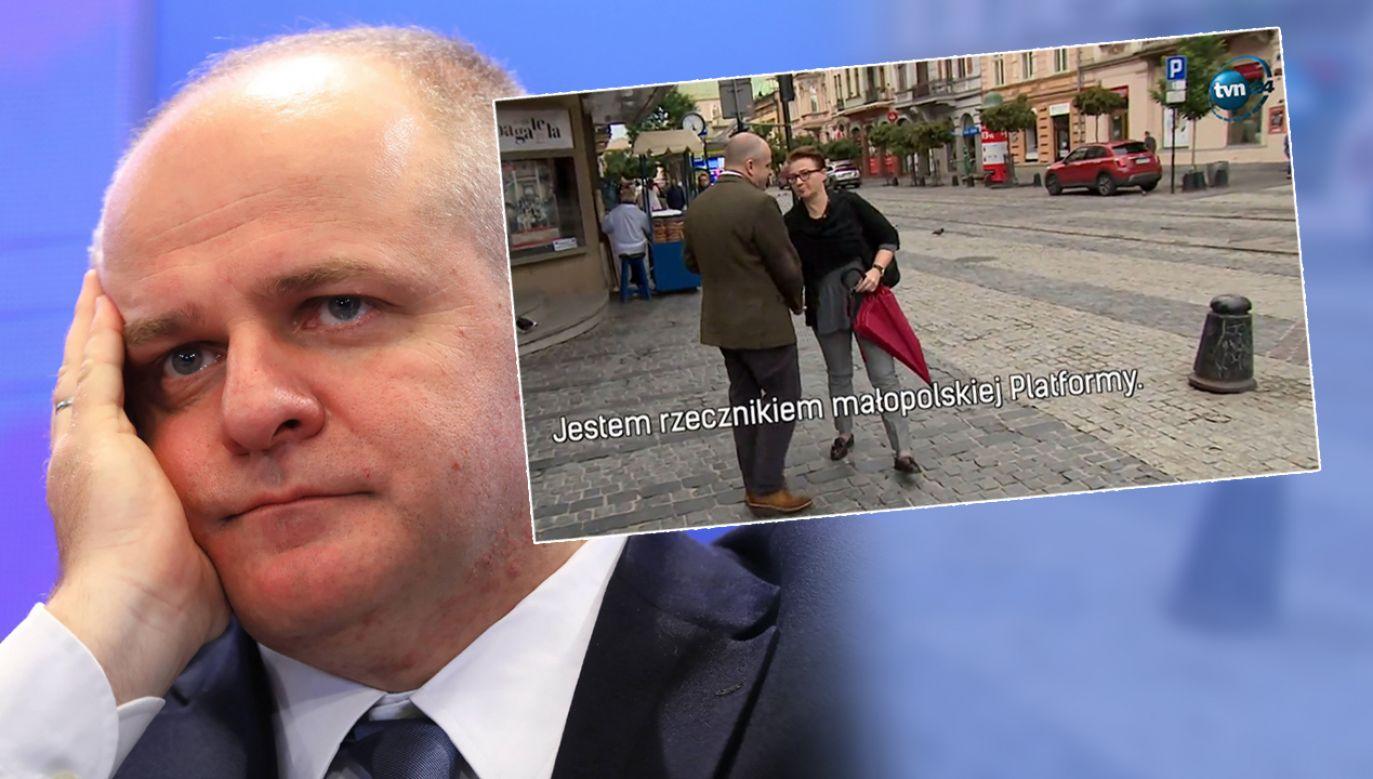 Politycy PO w niezręcznej sytuacji (fot. PAP/Rafał Guz/TVN24)
