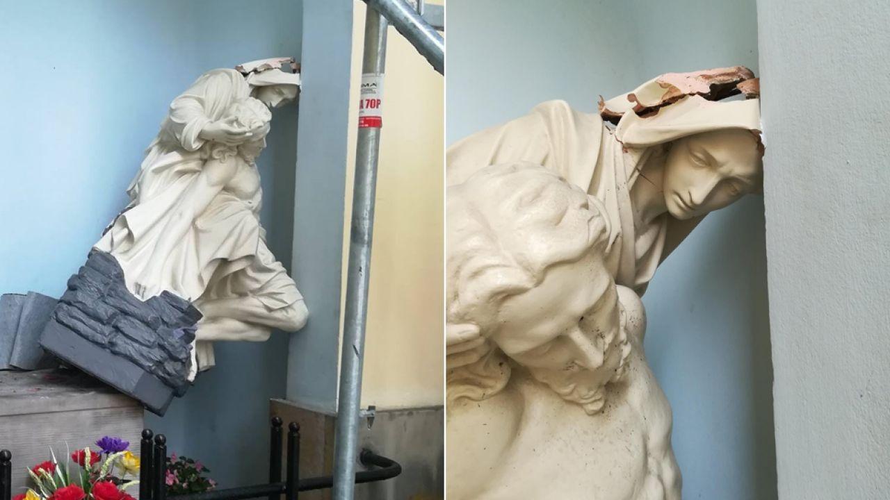 Uszkodzenie figury jest poważne (fot. fb/Bracia Mniejsi Kapucyni - Prowincja Warszawska)