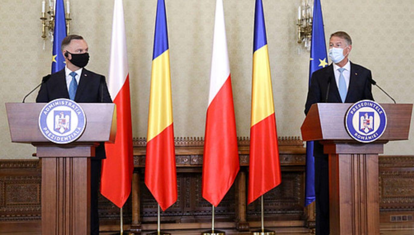 Prezydenci Polski i Rumunii podczas konferencji prasowej (fot. KPRP/Igor Smirnow)
