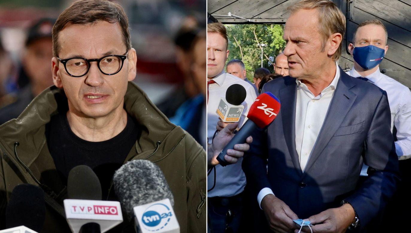 Mateusz Morawiecki, Donald Tusk (fot. PAP/Łukasz Gągulski, PAP/Paweł Supernak)