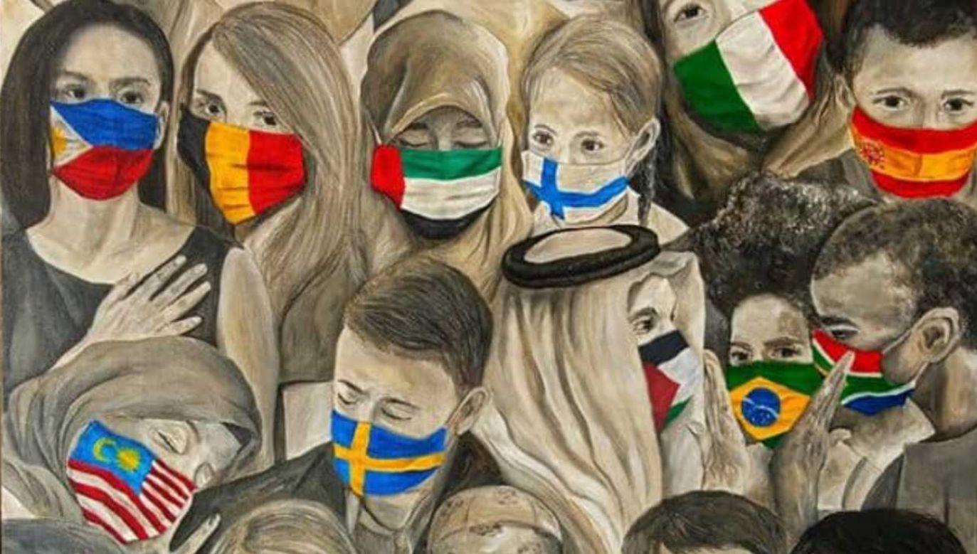 """Obraz """"Maskcommunication"""" powstał w marcu tego roku (fot. IG/Christian Joy Trinidad)"""