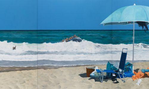 Michael Kvium, Beach of Plenty (Plaża obfitości), 2017. Olej na płótnie. Fot. Anders Sune Berg, dzięki uprzejmości artysty & Nils Stærk Gallery/ Gropius-Bau