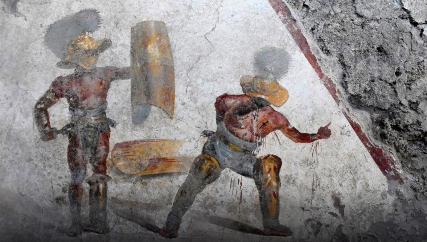 Fresk przedstawia finałowy moment walki gladiatorów (fot. Materiały prasowe)