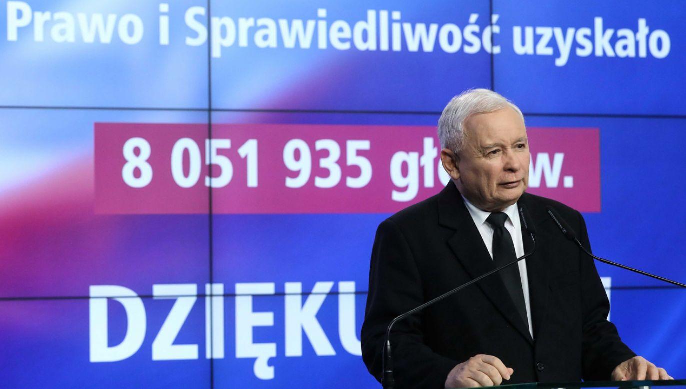 Ponad osiem milionów głosów oddanych na PiS, to wielki sukces prezesa Jarosława Kaczyńskiego (PAP/Rafał Guz)