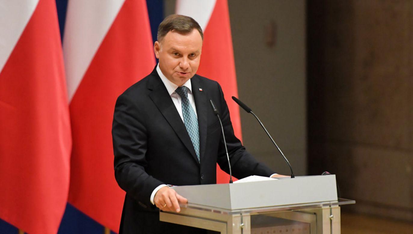 Andrzej Duda wygłosi przemówienie podczas obrad Zjazdu (fot. PAP/Jacek Bednarczyk)