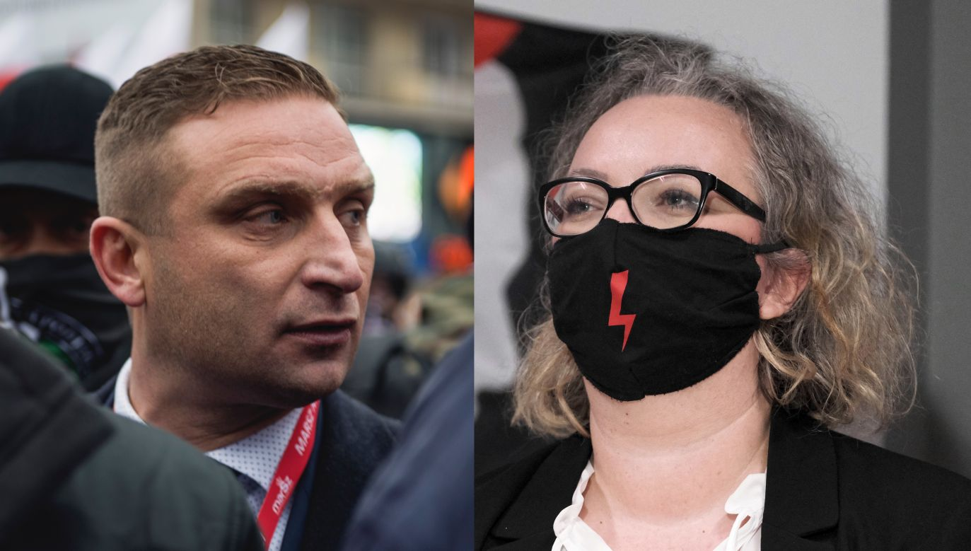 Robert Bąkiewicz i Marta Lempart (fot. Attila Husejnow/Getty Images, arch. PAP/Mateusz Marek)