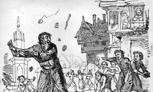 Około 1600 r. Młodzież kamienuje Żydów na ulicy podczas Wielkiego Postu; starszy mężczyzna ucieka przed gradem kamieni na placu miejskim. Fot. Hulton Archive / Getty Images