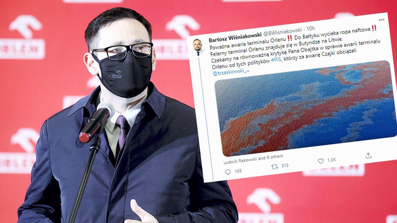 Bartosz Wiśniakowski awarię na Litwie zilustrował zdjęciem z Zatoki Meksykańskiej (fot. PAP/Ł.Gągulski, tt/BWisniakowski)