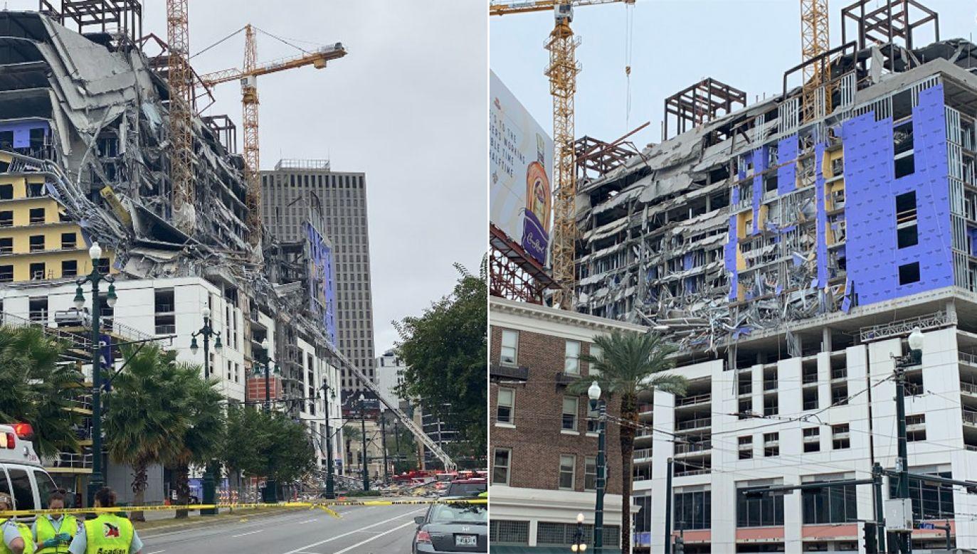 Na razie nie wiadomo, dlaczego budowany hotel się zawalił (fot. TT/Charles Divins/WWL-TV)