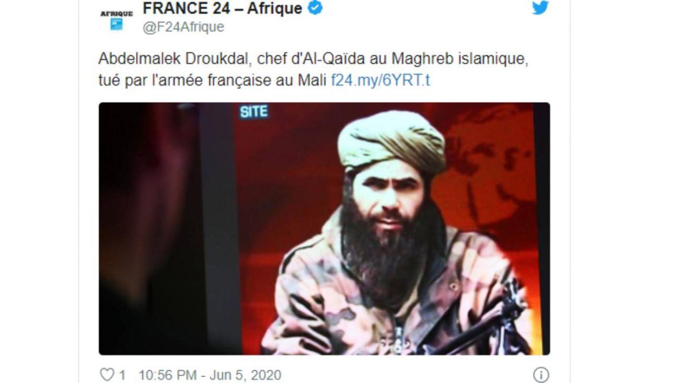 Francuski kontyngent w Mali zlikwidował 3 czerwca szefa Al-Kaidy w Afryce Płn. (fot. Twitter/@F24Afrique)
