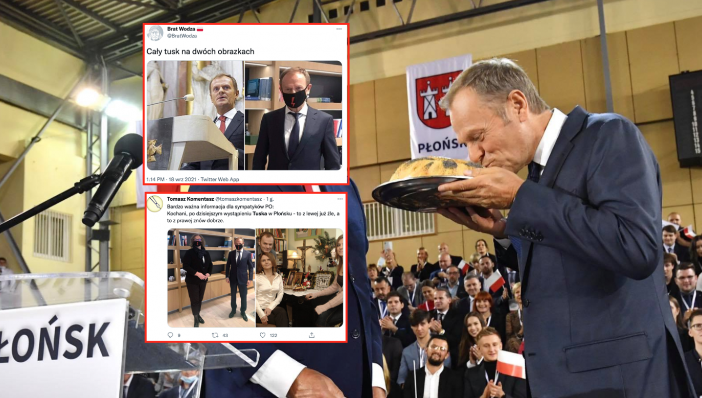 Donald Tusk na konwencji PO (fot. twitter.com/Platforma_org, twitter.com/BratWodza, twitter.com/tomaszkomentasz)