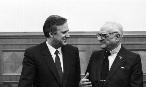 Z premierem ZSRR Nikołajem Ryżkowem w 1987 roku. Fot. Valentin Kuzmin; Valentin Sobolev/ TASS via Getty Images